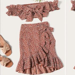 Dresses & Skirts - Knot front top and ruffle wrap skirt set
